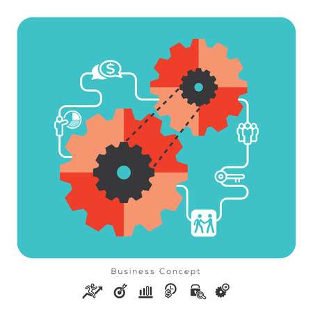 Business Concept Icons with Gear Illustration Vector