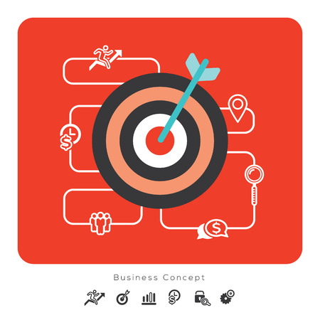 goals: Success Business Concept Icons with Target vector Illustration