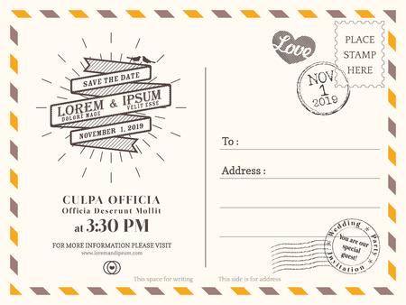 sjabloon: Vintage briefkaart achtergrond vector sjabloon voor bruiloft uitnodiging
