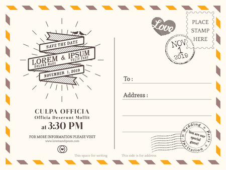 stamps: Vintage postcard background vector template for wedding invitation