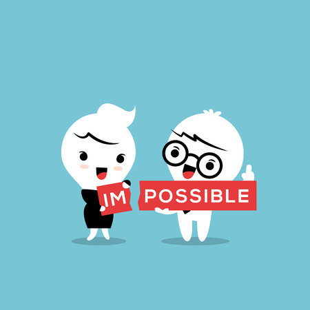 im: The word impossible torn in two parts im and possible conceptual illustration
