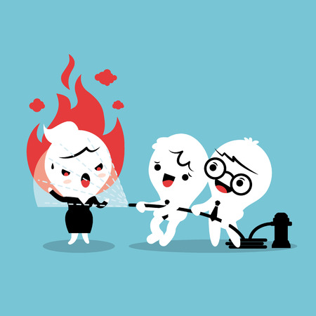 Friends helping by spray water with fire hose to calm down angry woman concept cartoon illustration Vectores