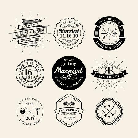 elements: Vintage icono de la boda del marco insignia Vector elemento de diseño retro