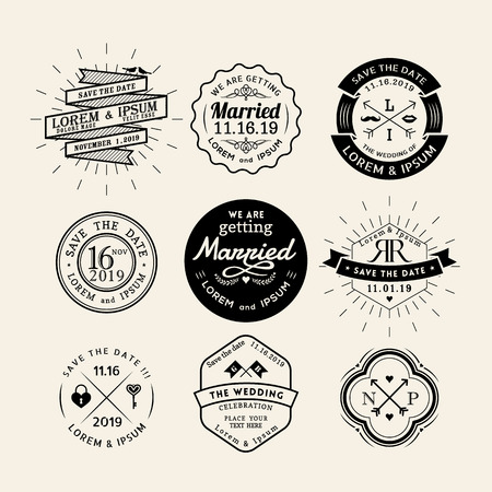 with sets of elements: Vintage retro wedding icon frame badge vector design element