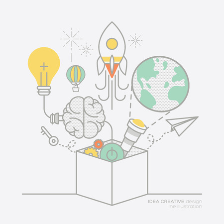 vision: business plan idea concept outline icons vector illustration