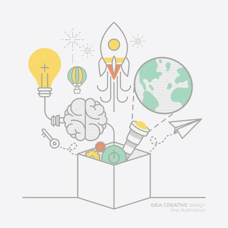 Business-Plan Idee Konzept Umriss Icons Vektor-Illustration