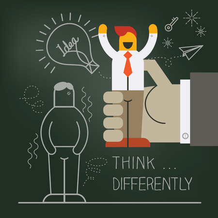 think up: Hand pick up businessman manikin illustration with think differently creative concept