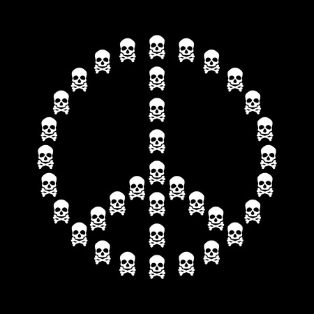 pacificist: Peace sign vector isolated with white skull shape on black background anti war concept