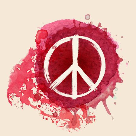 Friedenszeichen Pinselstrich auf rotem Aquarell Tinte Splat Hintergrund Standard-Bild - 38312718