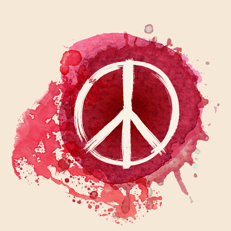 red sign: Peace sign brush stroke on red water color ink splat background