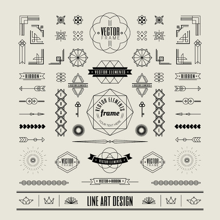 Set of linear thin line art deco retro vintage design elements with frame corner badge in geometric shape Stock Illustratie