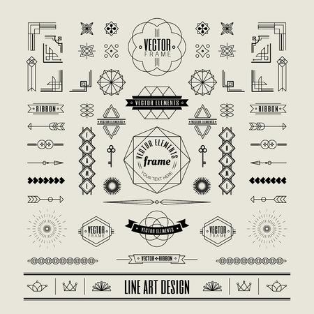 Set of linear thin line art deco retro vintage design elements with frame corner badge in geometric shape Illustration