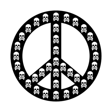 pacificist: Peace sign vector isolated with white skull anti war concept Illustration