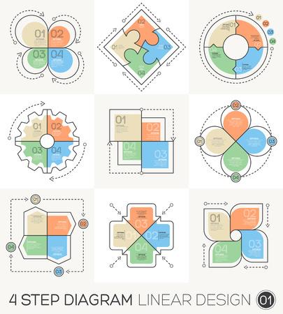 diagrama procesos: Círculo de engranajes flechas conjunto. Línea Lineal Diseño gráfico Elementos y Plantilla Infografía de diagrama del ciclo, gráfico, presentación y tabla redonda. Concepto de negocio con 4 opciones, partes, etapas o proceso. Vectores