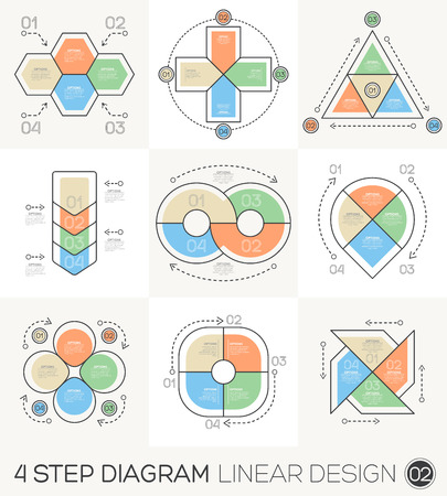 Circle Triangle Arrows set. Linear line Graphic design Elements & Infographic Template for cycle diagram, graph, presentation and round chart. Business concept with 4 options, parts, steps or process. Vector