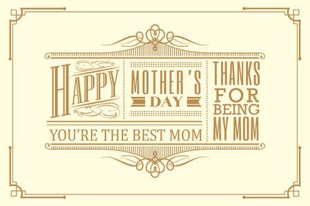 gold frame: happy mothers day typography frame design vintage retro art deco style Illustration