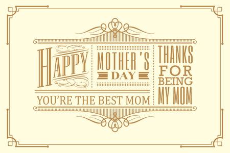 happy mothers day typography frame design vintage retro art deco style Illustration