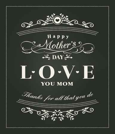 Diseño de las madres día tipografía feliz en el fondo pizarra Foto de archivo - 38569015