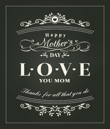 mum: happy mothers day typography design on blackboard background