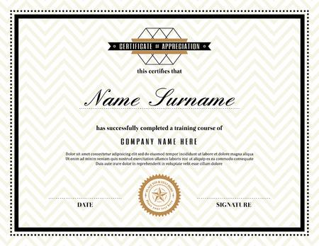 Retro frame certificate of appreciation design template royalty retro frame certificate of appreciation design template vector yadclub Images