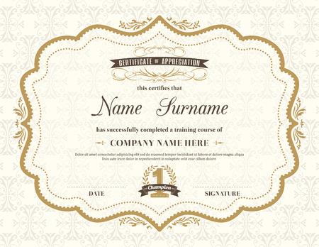 Vintage certificado de marco de plantilla de diseño retro de antecedentes Foto de archivo - 38898655