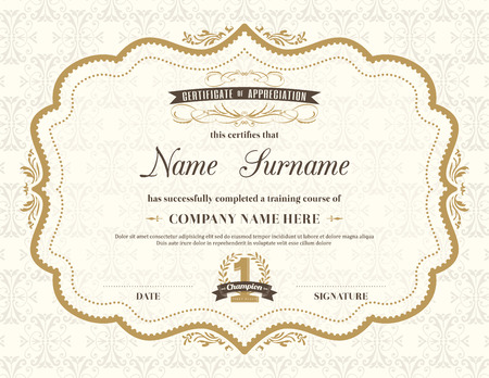 diploma: Vintage certificado de marco de plantilla de diseño retro de antecedentes