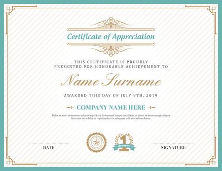 Vintage retro art deco frame certificate background design template