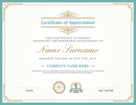 Vintage retro art deco frame certificate background design template