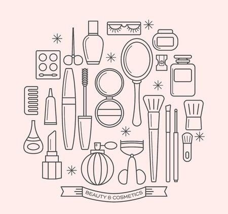 美しさ: 美容と化粧品の細い線アウトライン ベクトルのアイコンを設定します。