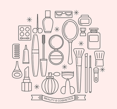 cosmetics products: beauty and cosmetics thin line outline vector icons set