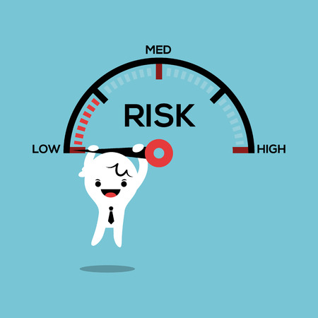risks button: business man hanging on needle speed gauge low risk management conceptual illustration