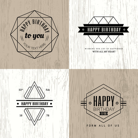 Minimal monochrome geometric vintage happy birthday badge on wooden background