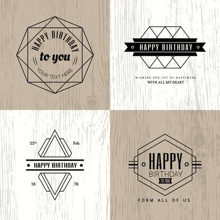 marco cumpleaños: Vendimia geométrica insignia feliz cumpleaños monocromático Minimal sobre fondo de madera
