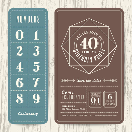 40 years: retro birthday party invitation card with editable numbers template