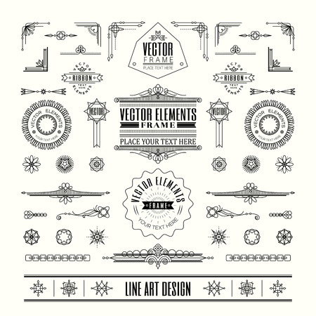 Set of linear thin line art deco retro vintage design elements with frame corner badge in geometric shape Vectores