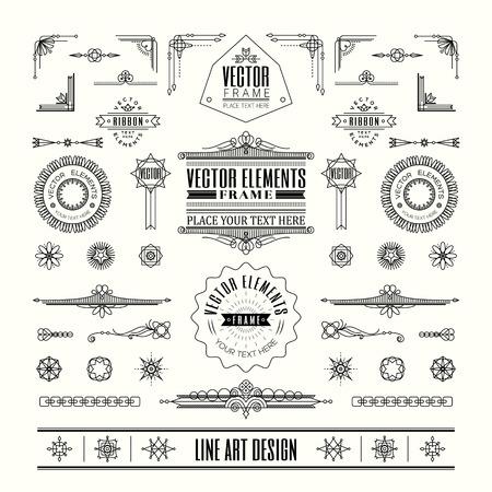 rahmen: Set von linearen dünne Linie Art Decoretro Vintage-Design-Elemente mit Rahmenecke Abzeichen in geometrische Form Illustration
