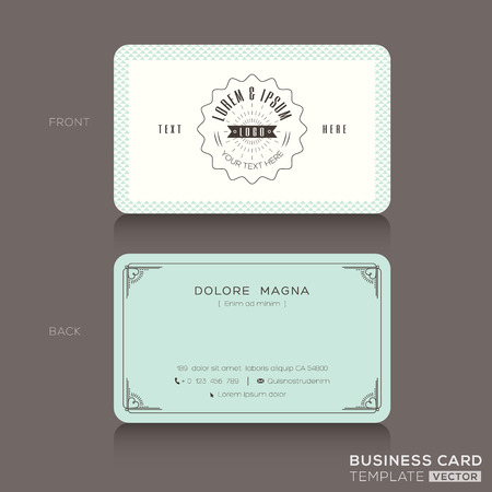 Retro hipster business card Design Template Illusztráció
