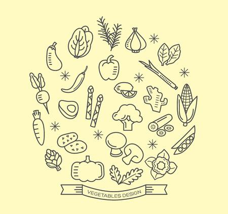 legumes: ic�nes de la ligne de l�gumes avec des �l�ments de conception de vecteurs contours de style