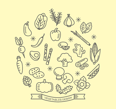 verduras: Iconos de línea de vegetales con elementos de diseño de vectores estilo de esquema