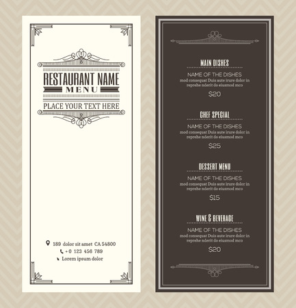 Restaurant or cafe menu vector design template with vintage retro art deco frame style 일러스트