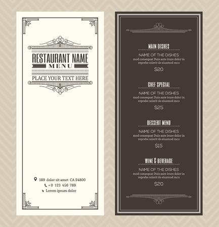Restaurant or cafe menu vector design template with vintage retro art deco frame style Illustration