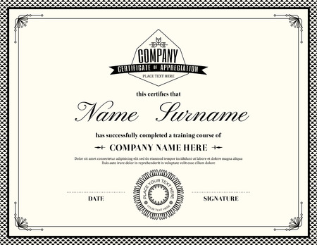 Gift certificate voucher coupon template with line art hipster retro frame certificate of appreciation design template vector yadclub Image collections