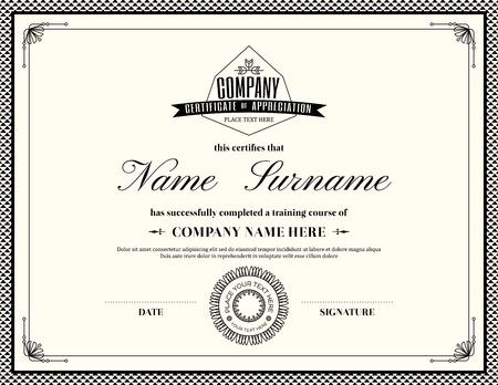 Retro frame certificate of appreciation design template