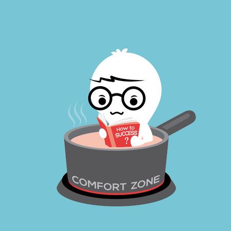 Ein Mann liest Buch im heißen Topf auf Gasherd mit Komfortzone konzeptionelle Cartoon Illustration