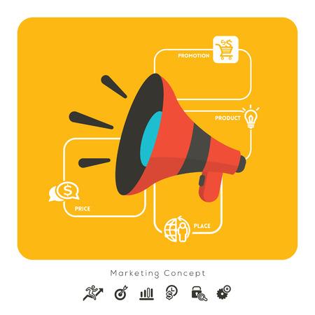 megafono: 4P Marketing mix de producto Lugar Precio de Promoción de Negocios concepto de ilustración con el megáfono y los iconos Vectores