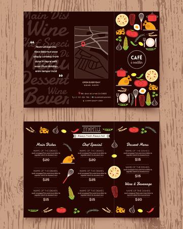 postres: Menú del restaurante de diseño vectorial plantilla de folleto en formato A4 Tri veces