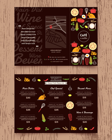 Restaurant menu design pamphlet vector template in A4 size Tri fold