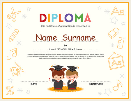 kindergarten education: Preschool Kids Diploma certificate background design template