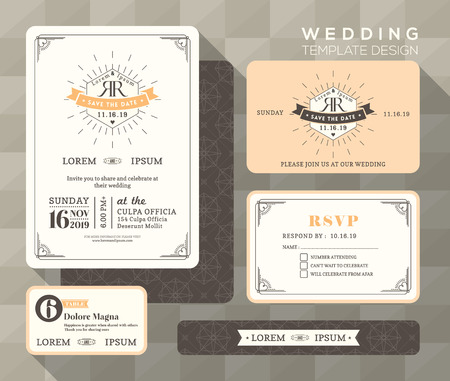 wedding invitation card: Vintage wedding invitation set design Template Vector place card response card save the date card