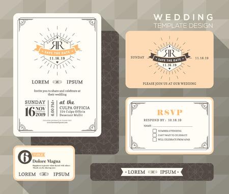 Weinlese-Hochzeitseinladung Set-Design-Vorlage Vektor-Platzkarte Antwortkarte retten die Datumskarte
